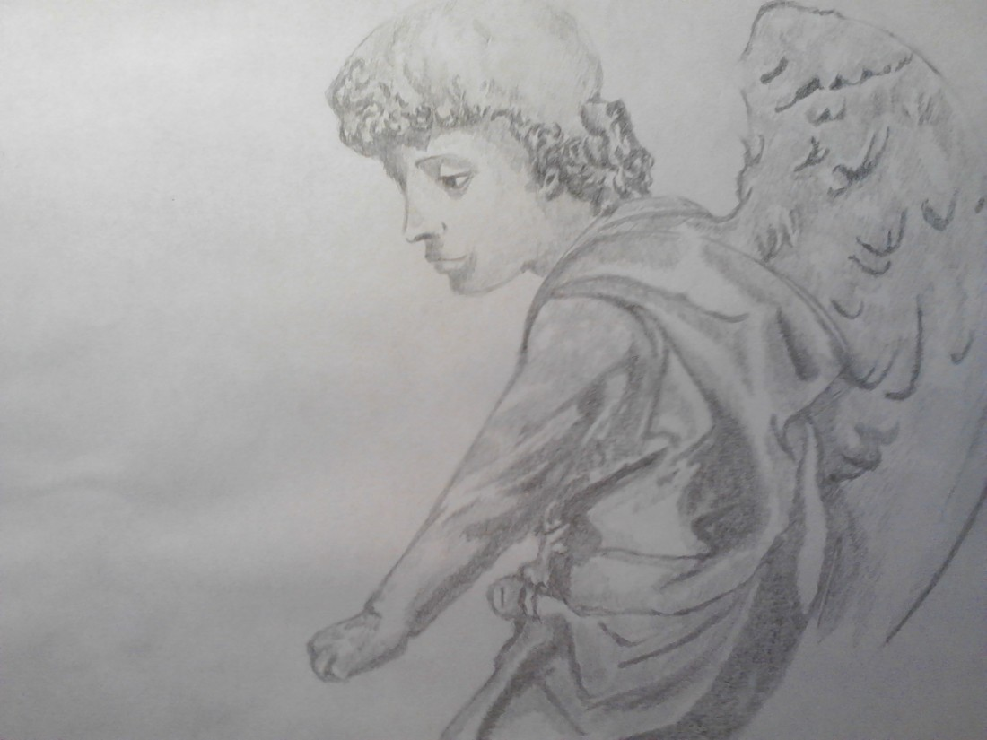 Angel drawing on A4 paper