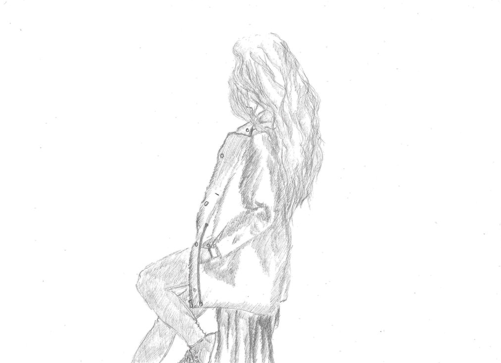 A Girl sitting on a Stump Drawing on A4 paper