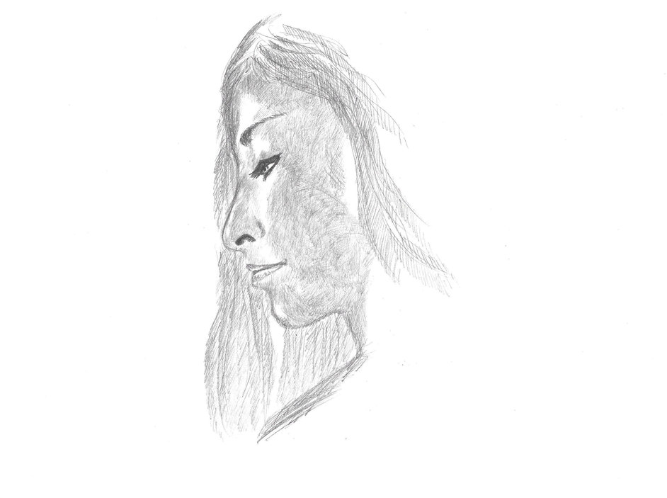 Profile of a WOmen Drawing on A4 paper