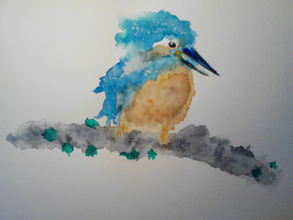 Painting of a Kingfisher, watercolor painting on watercolor paper