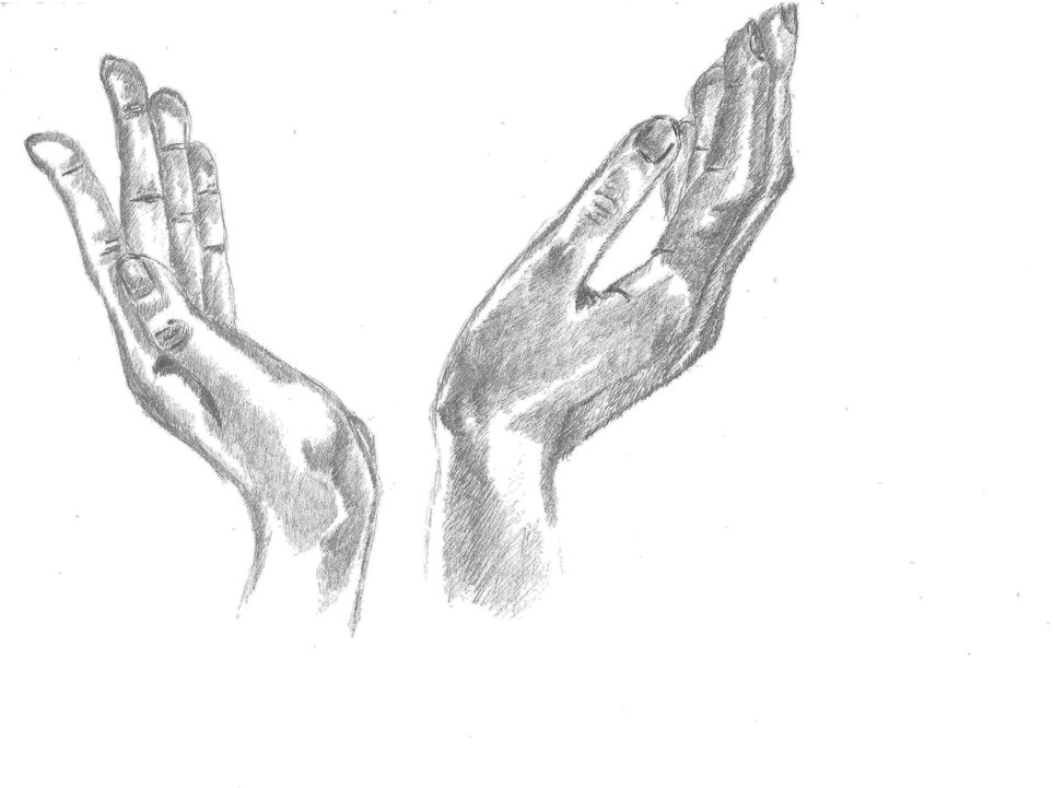 drawing of hands, drawing on A4 paper