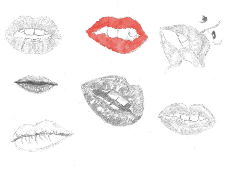 Project Human Studies Lips drawing on A4 paper