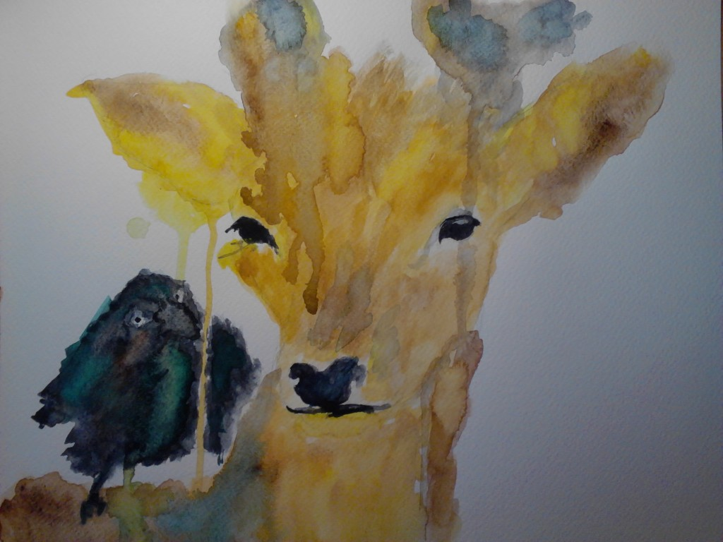 Painting of a deer and a crow