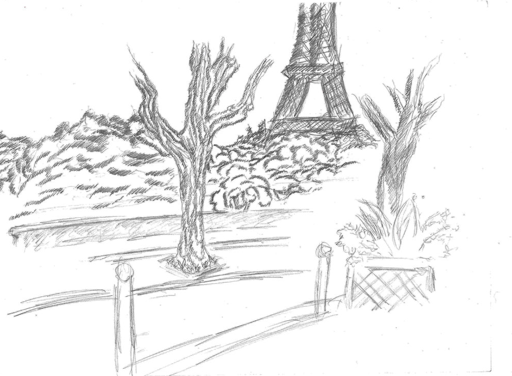 A little sketch, at paris drawing on A4 paper