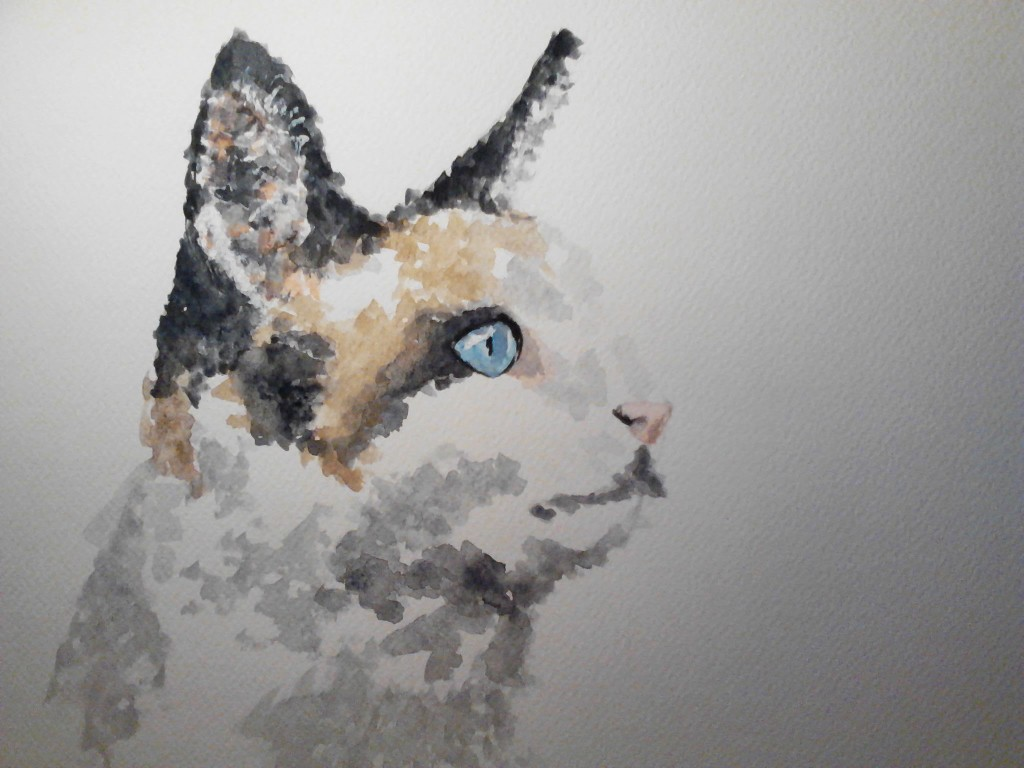 Black and Brown cat watercolor painting on watercolor paper