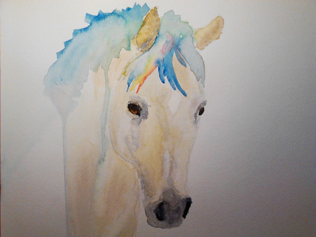 Painting of a Golden Palmino Horse, watercolor painting on watercolor paper