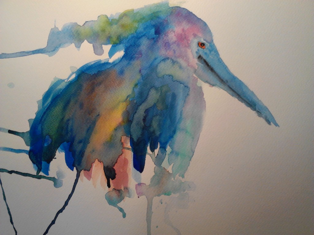 Painting of a Pelican, watercolor painting on watercolor paper