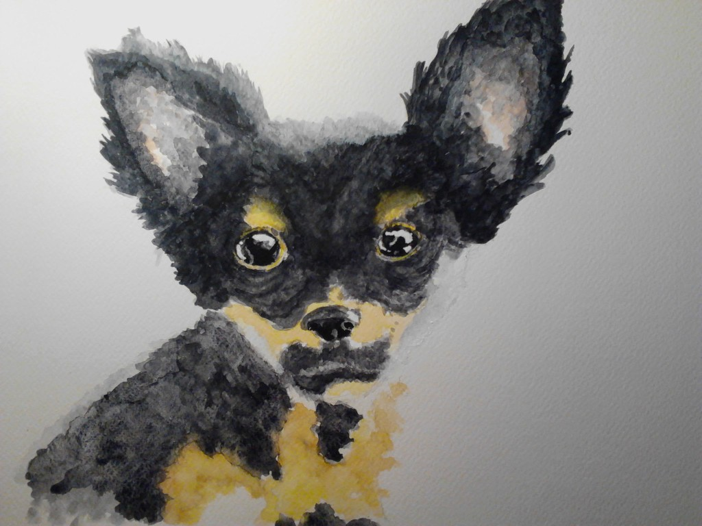 Painting of a Puppy watercolor painting on watercolor paper