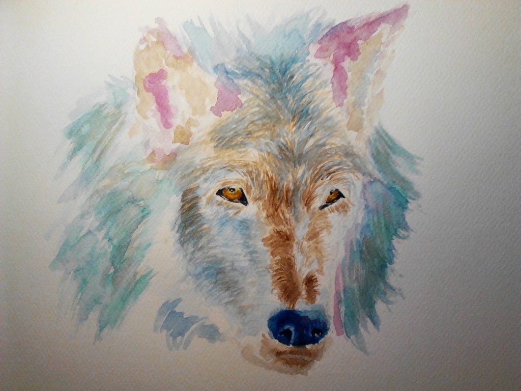 Painting of a Wolf, watercolor painting on watercolor paper