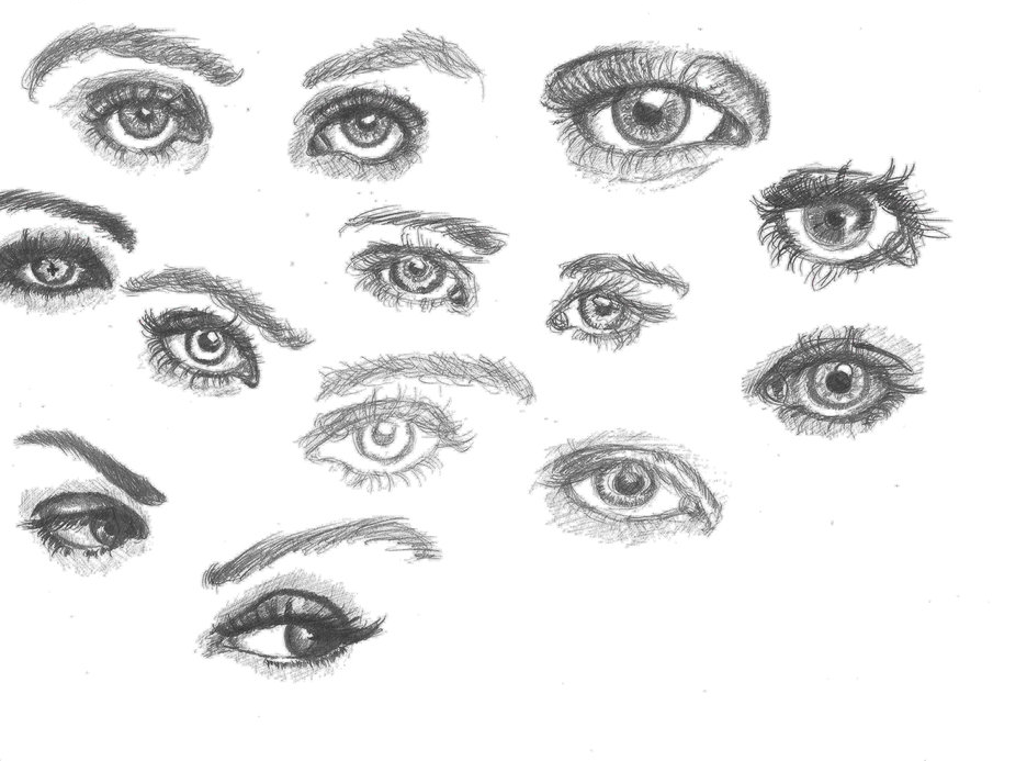 drawing of eyes drawing on A4 paper