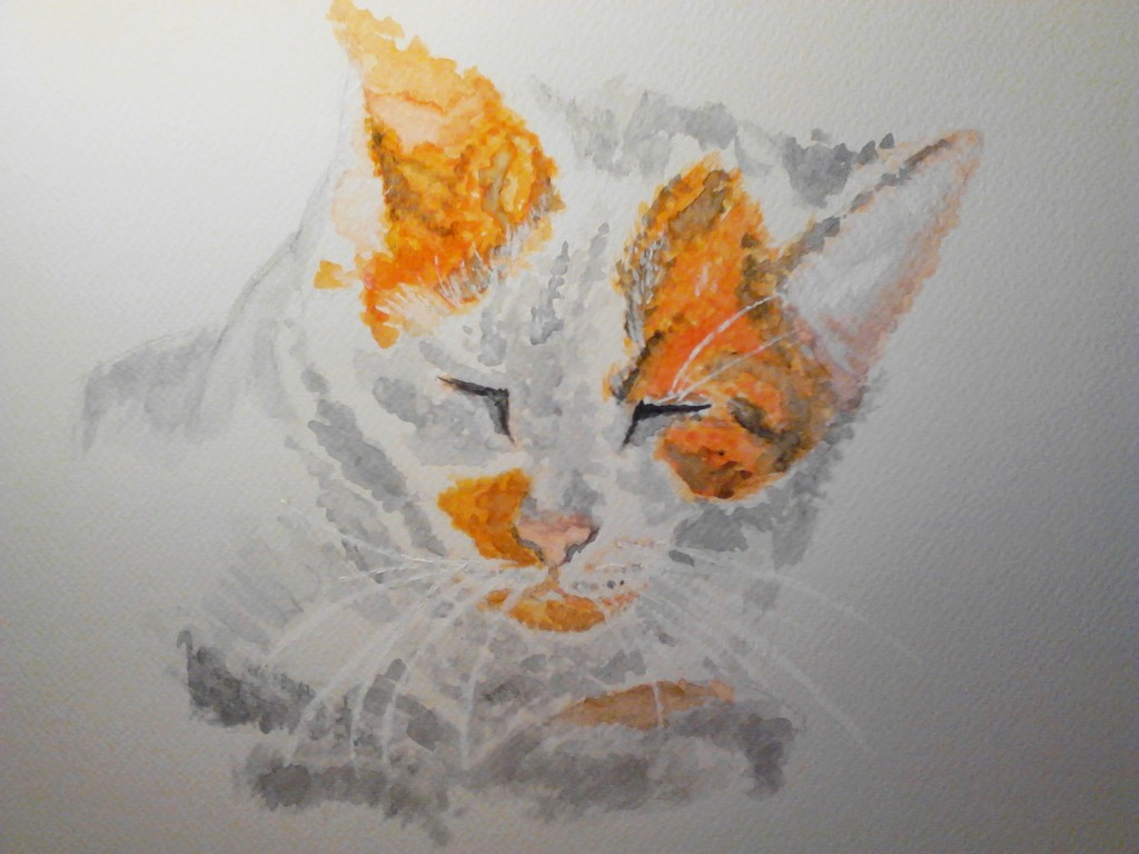 Painting of an orange Tabby Cat watercolor painting on watercolor paper