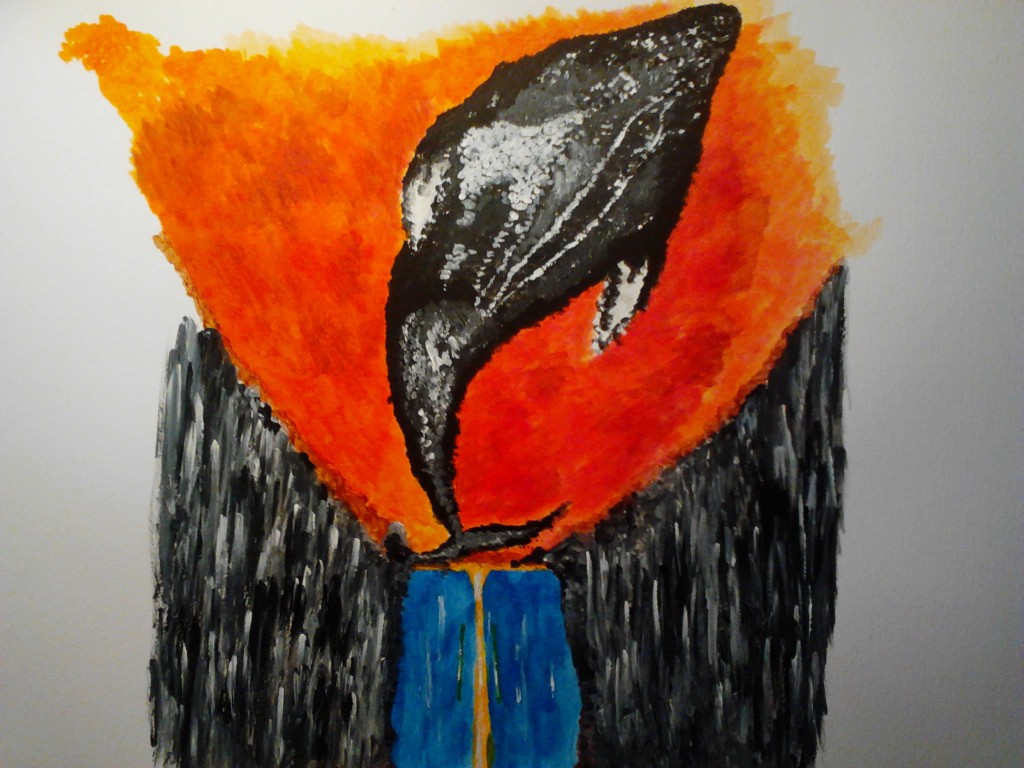A whale among us, acrylic painting on mixmedia paper