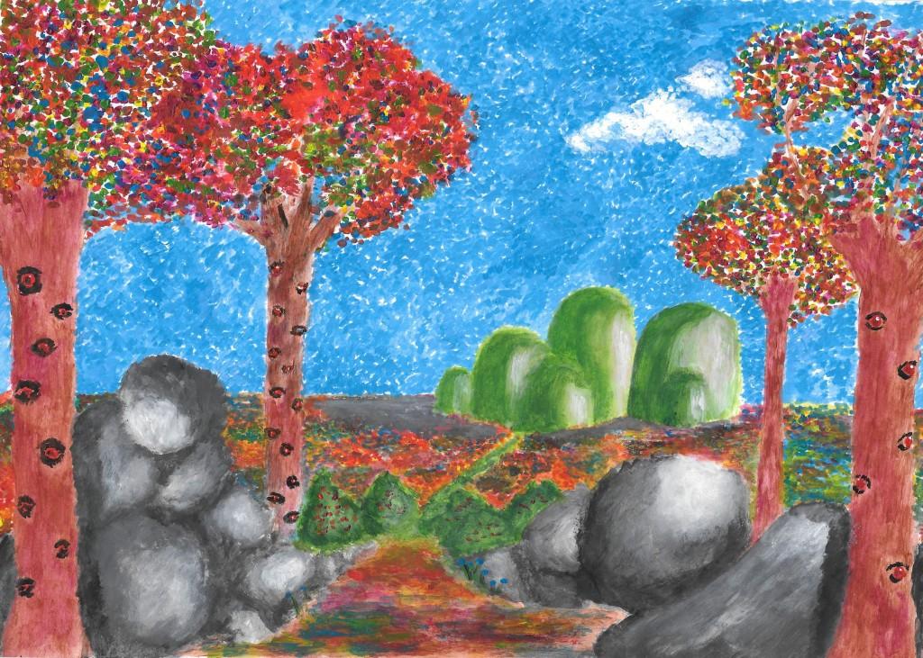 Dreamworld acrylic painting on mixmedia paper
