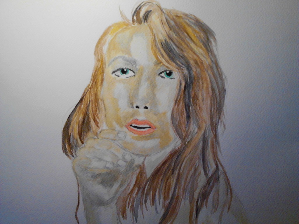 Watercolor portrait 8, watercolor painting on watercolor paper