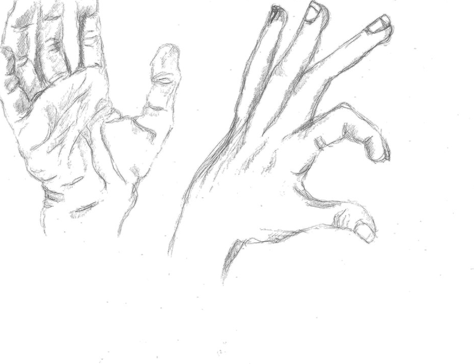 Sketch - Hands #2, graphite on A4 paper