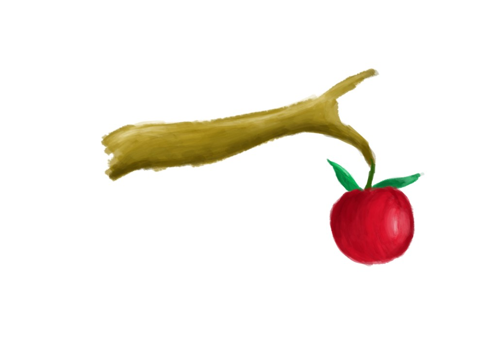 Sketch of an apple illustration on photoshop CS4