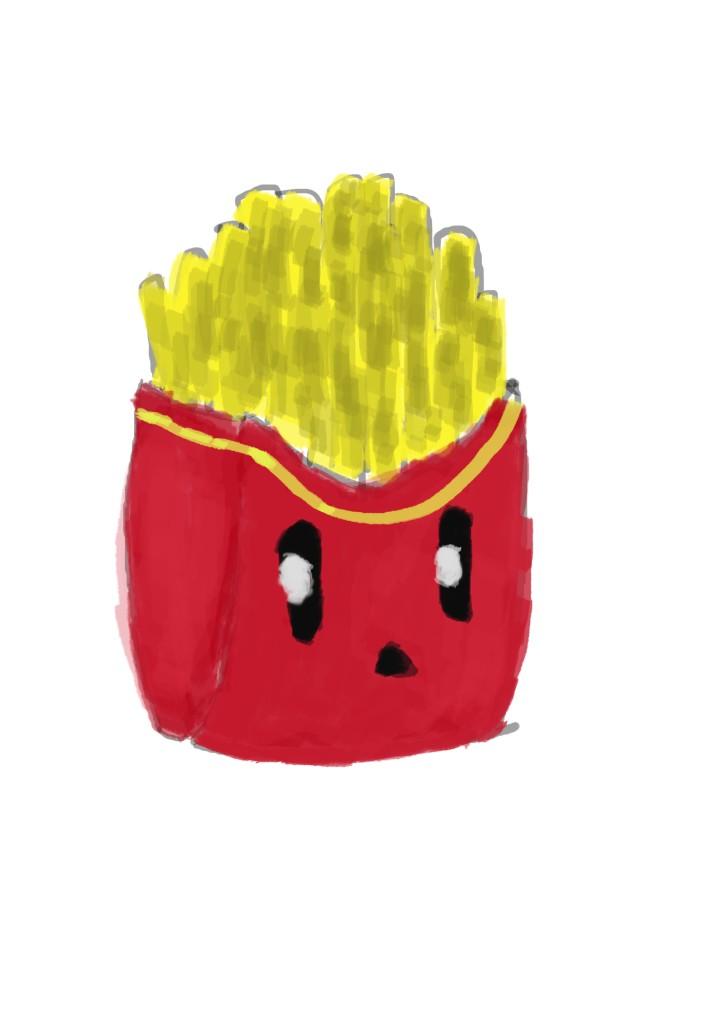 French fries man illustration on photoshop
