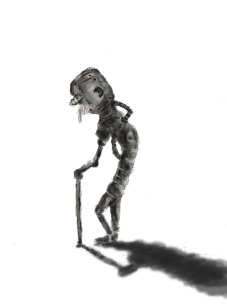 retired robot illustration on photoshop