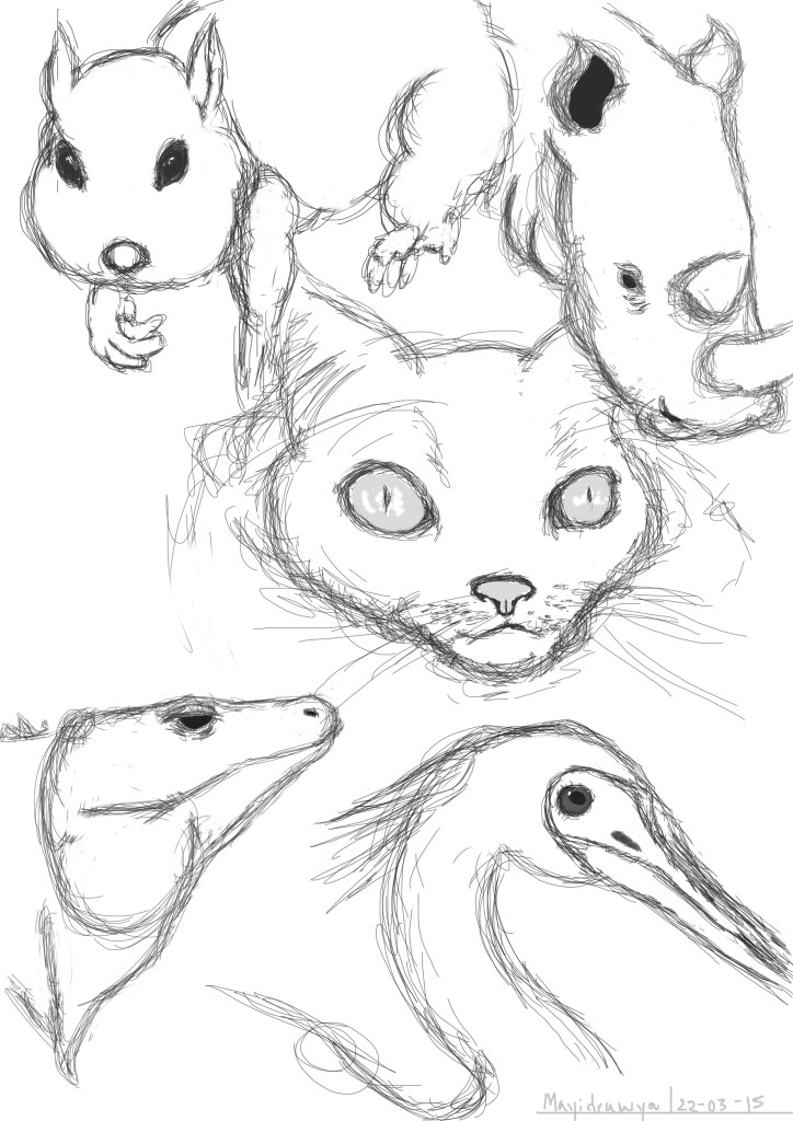 sketches of various animals illustration on photoshop
