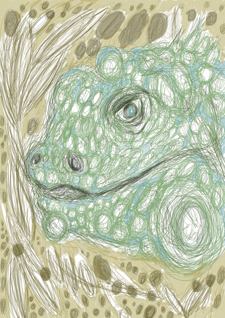 Green round lizard illustration on photoshop