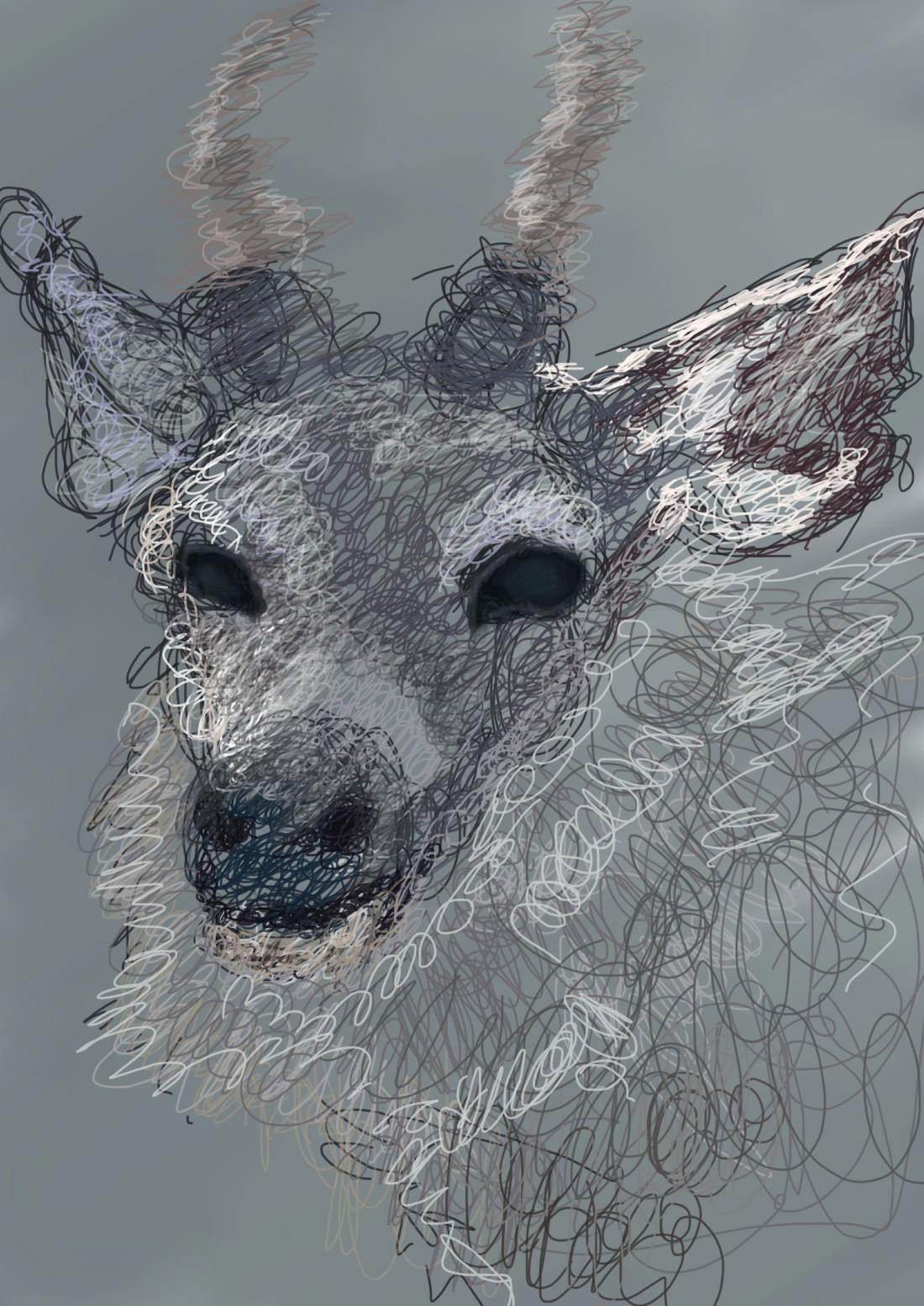 linework deer illustration on photoshop