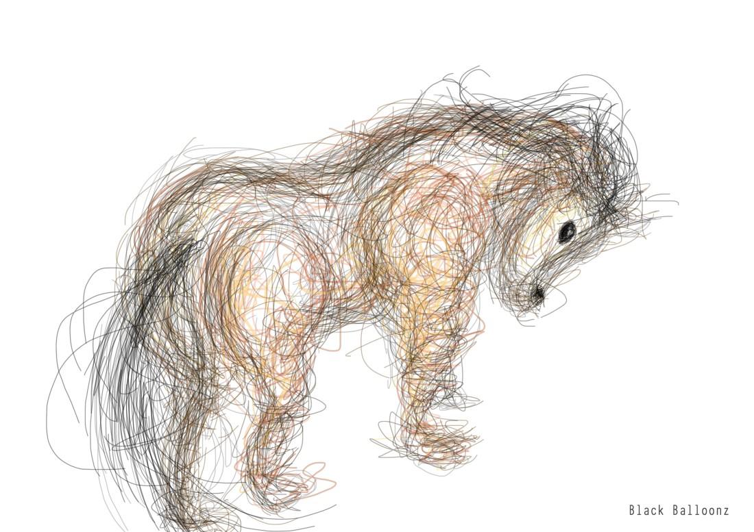 linework - horse illustration on photoshop