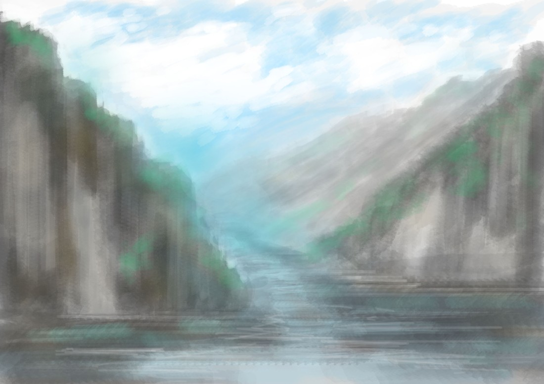 mountains with a river digital painting on photoshop