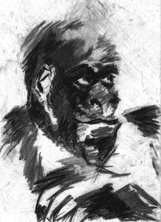 Charcoal ape drawing on A4 paper