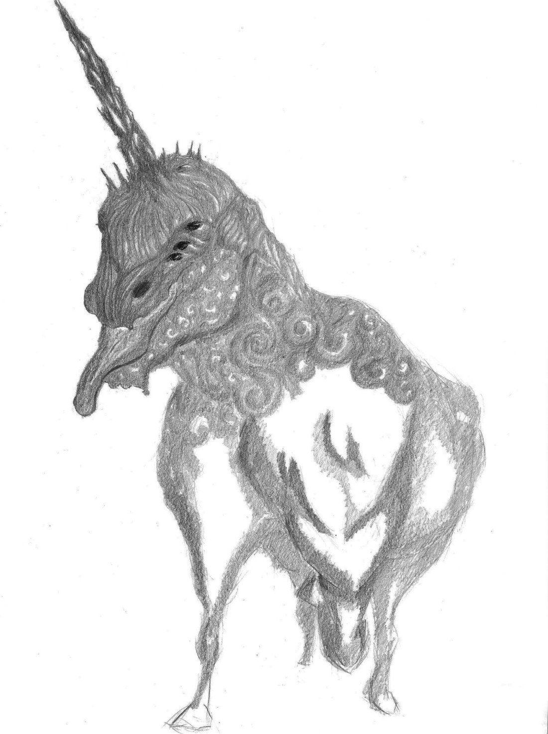 Unicorn drawing on A4 paper