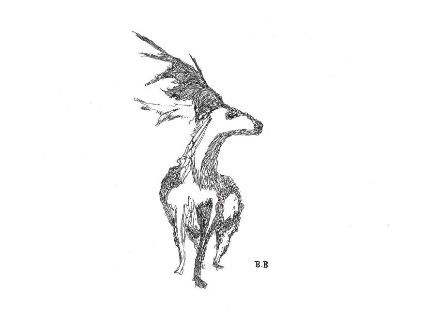 Unfinished - ink - deer illustration on A4 paper