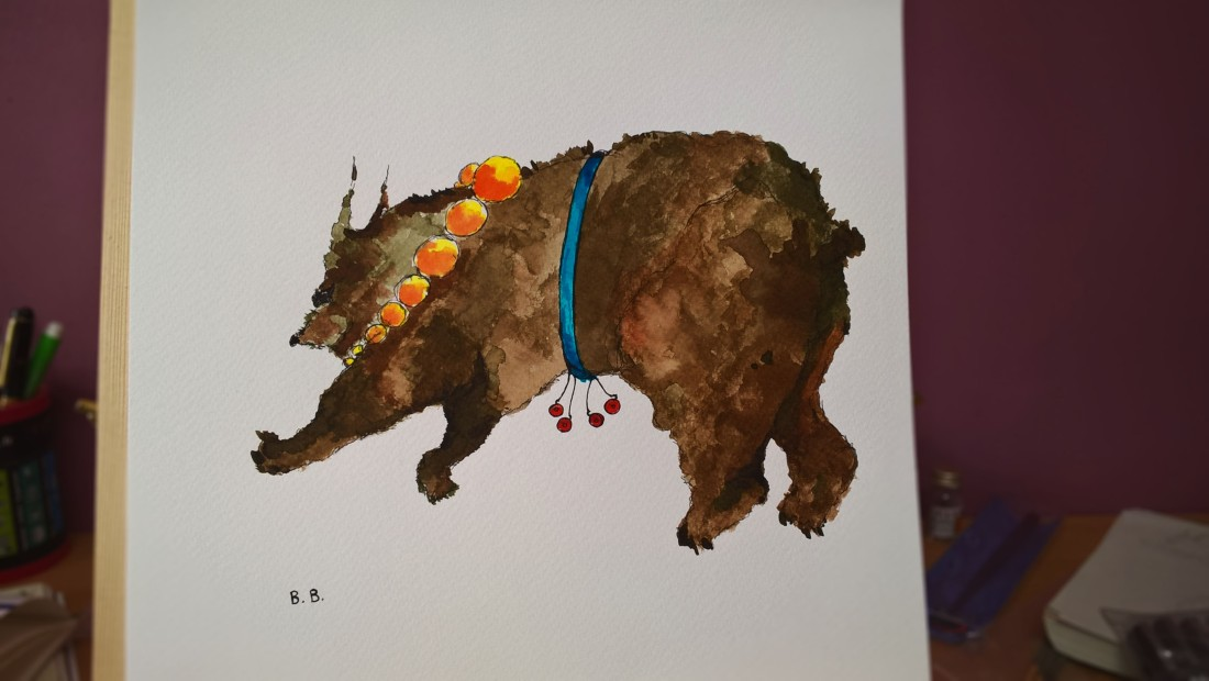 the bear carrying his four red bells ink painting on acquarelle paper