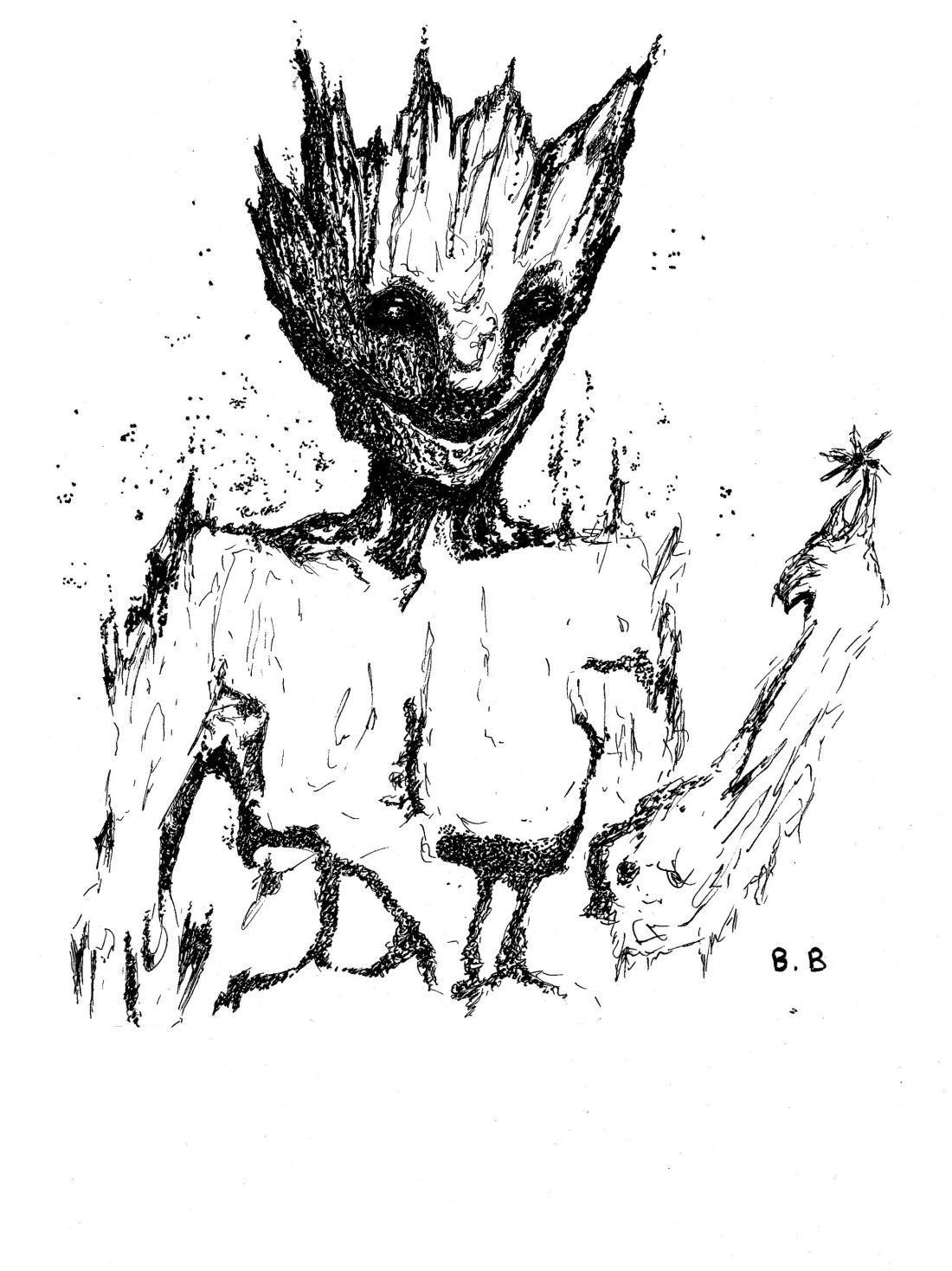 i am groot drawing on A4 paper