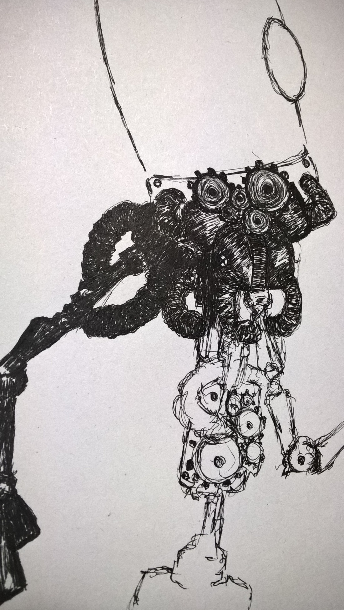 sketching clockwork ink drawing on A4 paper