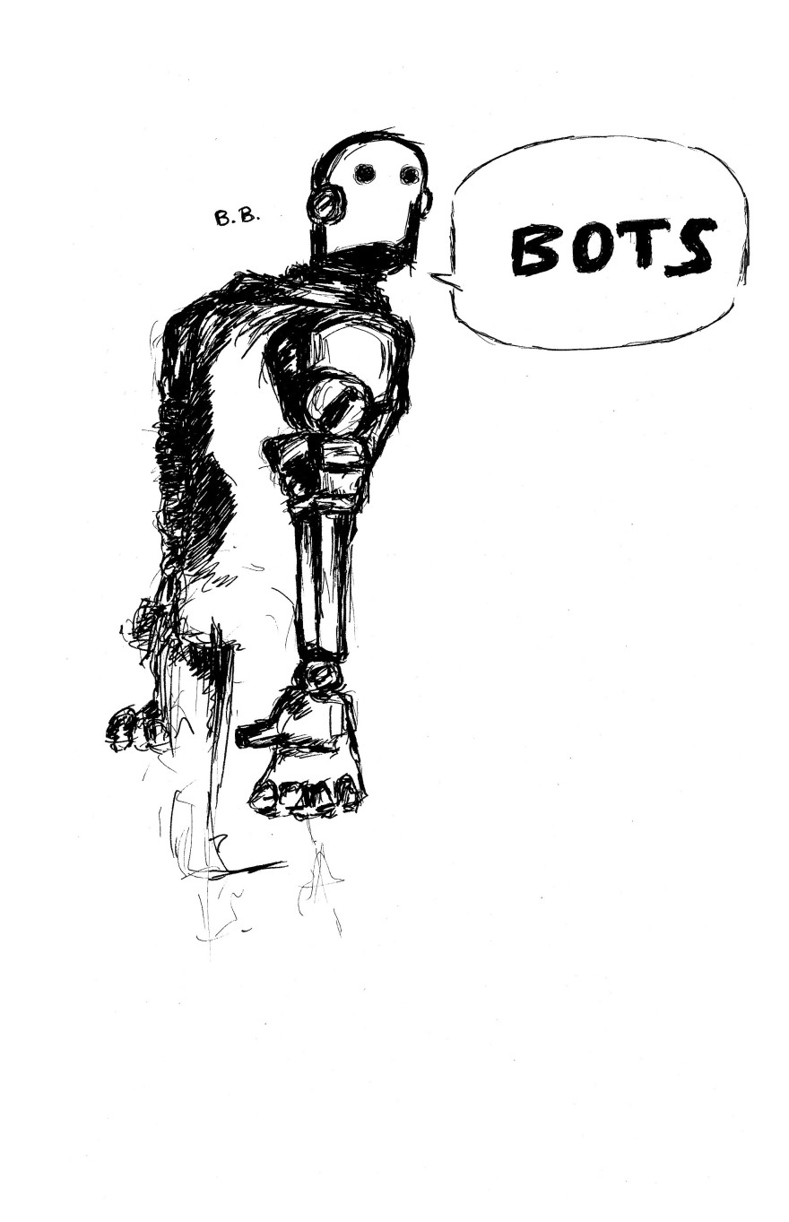 bots ink drawing on A4 paper