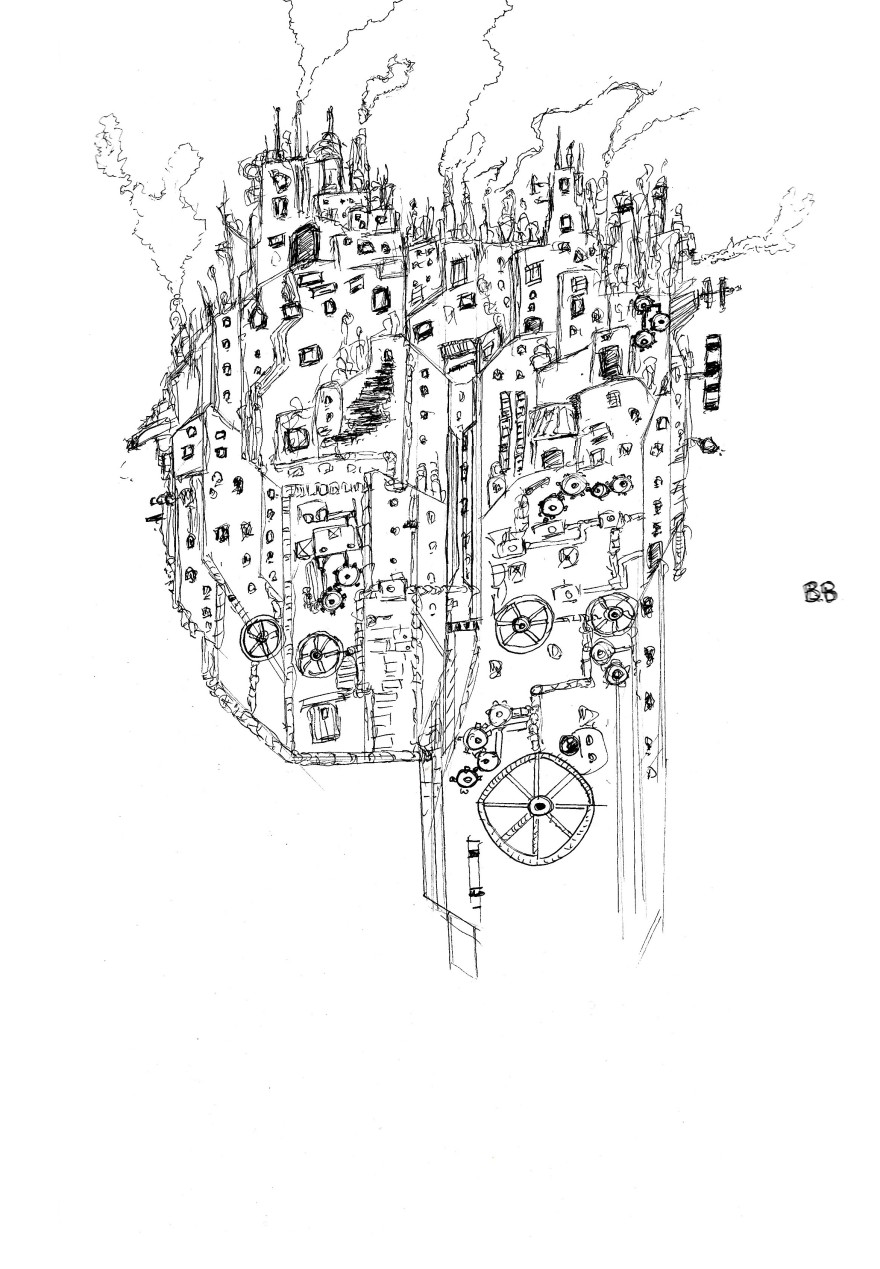 mechanical city drawing on A4 paper