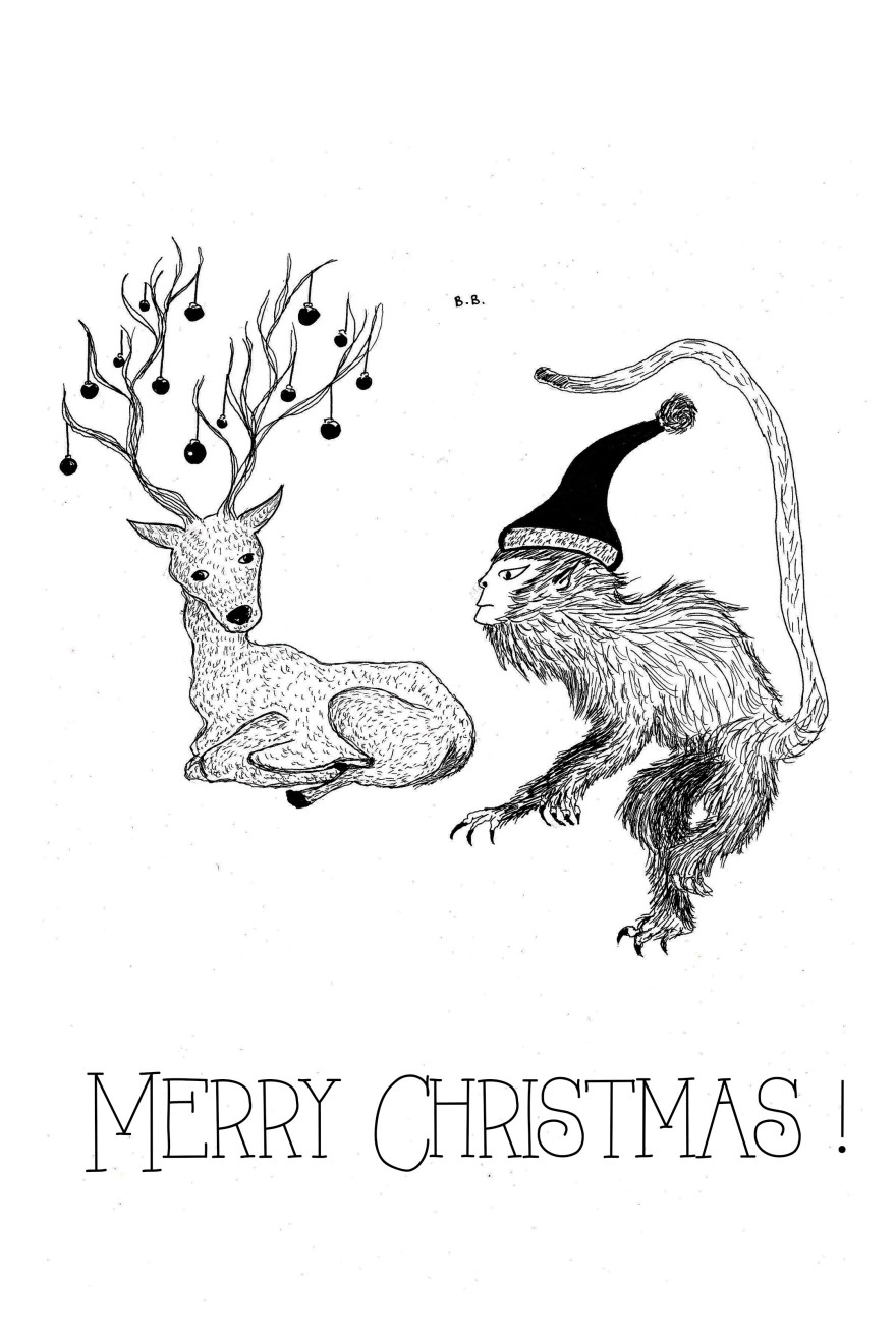 merry christmas drawing on A4 paper