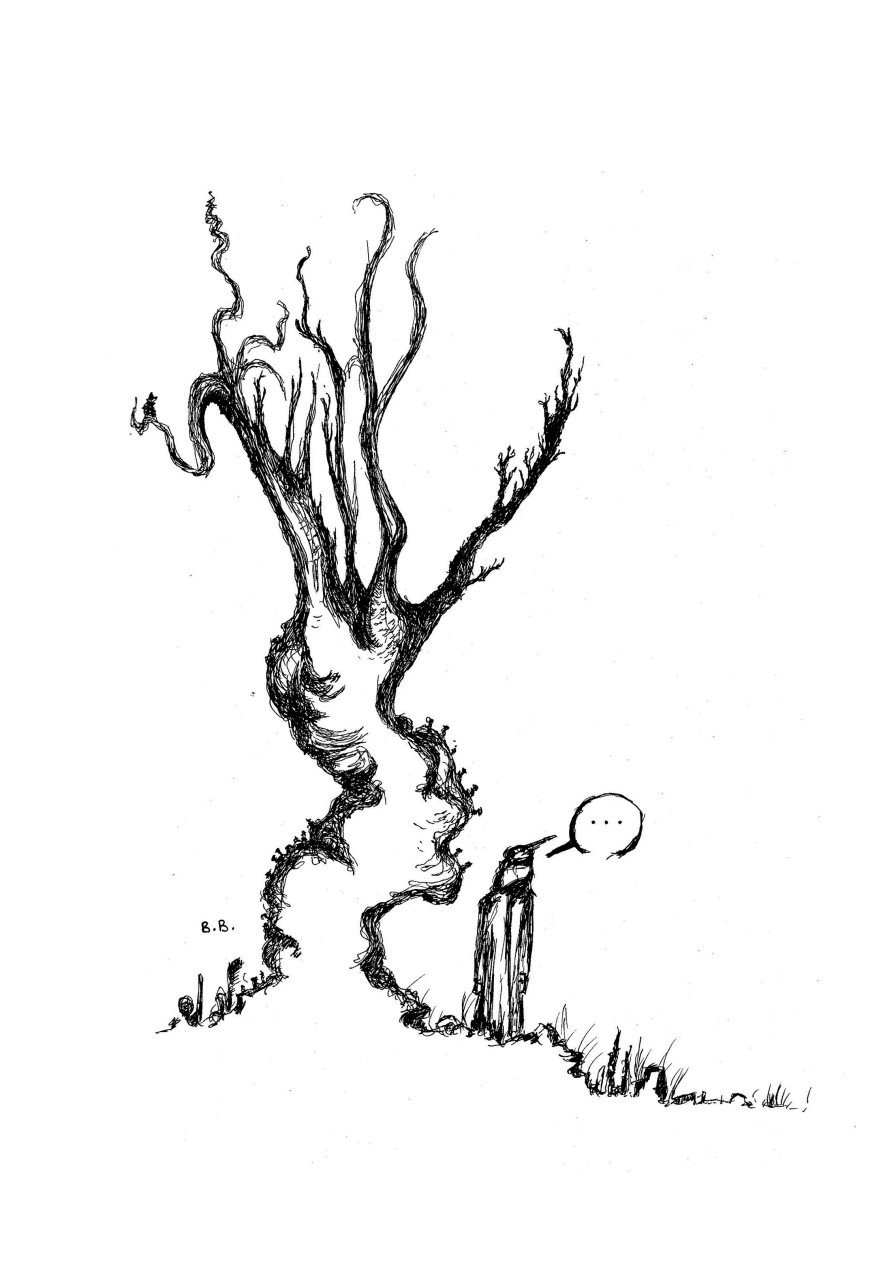 tree watcher drawing on A4 paper